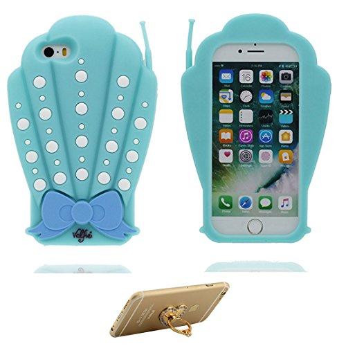 Hülle iPhone 5, iPhone 5S Case TPU 3D Cartoon Cigarette Holder Schädel Handyhülle iPhone SE 5s 5G 5C Cover Shell, haltbare weiche Skin Staub-Beleg-Kratzer beständig und Ring Ständer blau
