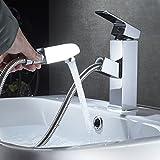 Auralum herausziehbarer Wasserhahn Einhebelmischer Waschtischarmatur Mischbatterie Waschbecken Armaturen Chrom