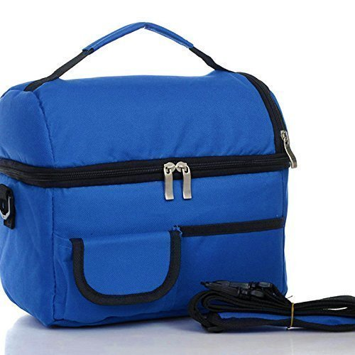 Itian lunch box borsa con tracolla regolabile, insulated, grande capacità, pranzo borsa per viaggio campeggio lavoro (blu)