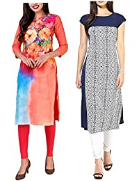 Mastani Kreation's Combo Offer Two Graphical Print Crepe Fully Stitched Kurtis