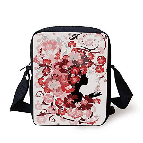 th Hair Long Swirling Pink Blossoms Hair Dressers Beauty Feminine,Red Pink Black Print Kids Crossbody Messenger Bag Purse ()