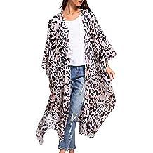 Amlaiworld Ropa de Playa Mujer Talla Grande,Moda Cardigan Largo Estampado Leopardo Mujer Mujeres de