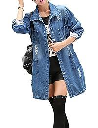 Mujer Chaqueta de Mezclilla Denim Jacket Suelto Manga Larga Chaqueta Otoño Jeans Larga Cárdigan Azul 4XL