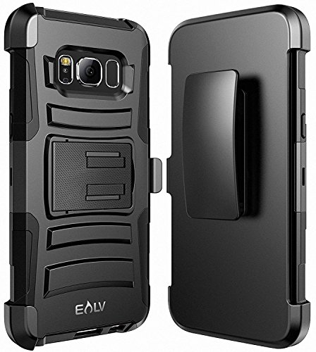 ELV Galaxy S8 Case, Belt Swivel Clip / Kickstand – Dual Layer Armor Full Body Protective Case Cover for Samsung Galaxy S8 – Black