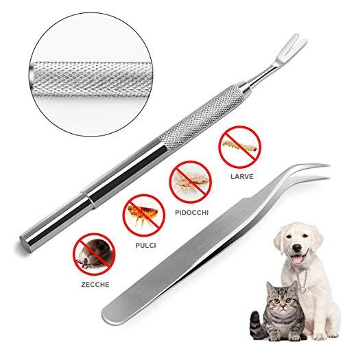 ResaleShack Zeckenpinzette aus Edelstahl, zum Entfernen von Zecken, Glassplittern, Mensch und Tieren - Zeckenzange für Hunde, Katzen, Kaninchen, Pinzette und Zecken, leicht zu sterilisieren - Sterilisieren Einer Pinzette