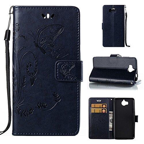 EKINHUI Case Cover Horizontale Folio Flip Stand Muster PU Leder Geldbörse Tasche Tasche mit geprägten Blumen & Lanyard & Card Slots für Huawei Y5 2017 ( Color : Red ) Royal Blue