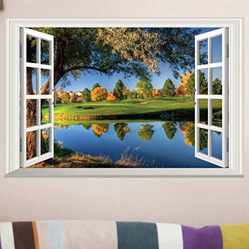 Kinder-mode Booten (VIOYO Wandaufkleber 3D Fenster Seeblick Natur Wandaufkleber DIY Vinyl Aufkleber Room Home Decor Landschaft Wandaufkleber)