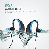 IPX8 Over Ear imperméable à l'eau dans l'oreille stéréo filaire Sport écouteurs pour l'exécution de l'exercice Gym Workout Jogging Cyclisme Natation Compatible avec IPhone, IPad, Android Smartphones, lecteur Mp3 / mp4, tablette, etc. (BLEU)