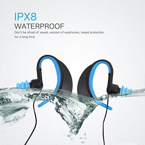 IPX8 Über Ohr Wasserdicht In Ear Stereo Verdrahtete Sport Kopfhörer für Lauftraining Fitness Workout Jogging Radfahren Schwimmen Kompatibel mit IPhone, IPad, Android Smartphones, MP3 / MP4 Player, Tablet, etc. (BLAU)