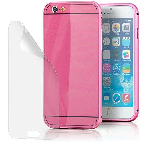 Saxonia iPhone 6 6S Hülle Aluminium Case + Displayschutzfolie Schutzhülle Alu Rahmen Bumper und Back Cover | Plexiglas Rückseite Rosa Rosa