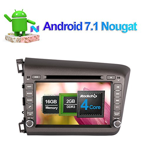 Android 7.1 Quad Core Auto Stereo CD DVD Player in Dash Auto Radio Head Unit mit 20,3 cm LCD Bluetooth GPS Navigation für Honda Civic 2012-2013 Unterstützung FM AM RDS Spiegel Link 1080P Video WIFI/3G Honda Civic Stereo