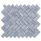 Carrara White Italian Carrera Marmor Fischgrätenmuster Mosaik Tile 1x 2poliert