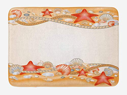 ZKHTO Beach Bath Mat, Sand Seashells Starfish and Ropes Marine Inspirations Abstract Coast, Plush Bathroom Decor Mat with Non Slip Backing, 23.6 W X 15.7 W Inches, Pale Orange Vermilion Cream -