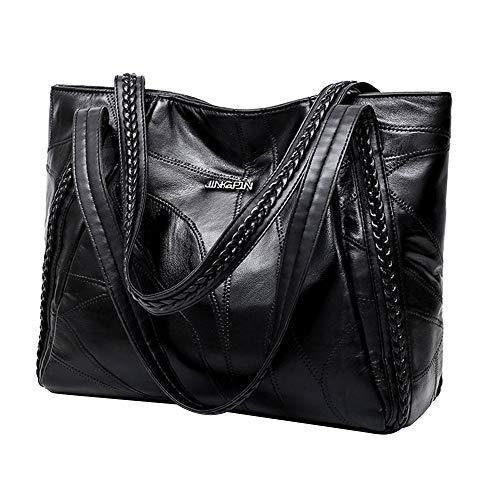 Gaodaweian Einfache Damentasche Handtaschen Damen Weiche Leder Umhängetasche Große Tasche Satchel Tote Taschen Schwarz für Frauen Damen Geeignet für große Kapazität (Color : Schwarz, Size : M) -