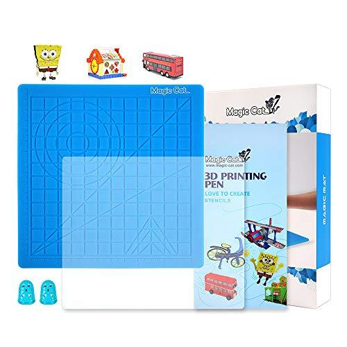 3D-Druckstiftmatte, Silikon-Designmatte mit Basisvorlage, Geschenkbuch mit 3D-Stiftschablonen, 3D-Kopierplatte und 2 Silikon-Fingerkappen, beste Werkzeuge für 3D-Zeichnung, Kreise