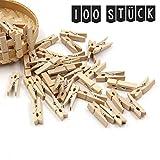 Mini-Holz-Wäscheklammern, 100 Stück, Länge: 30 mm., Breite: 4 mm. Handgefertigte Dekoklammern zum Basteln und für tolle Deko-Ideen, in Natur-Holzfarbe