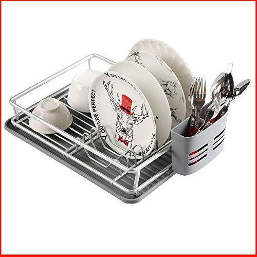 Praknu Abtropfgestell mit Abtropfschale und Besteckkorb - Rostfrei - Hygienisch - 43 x 32 cm (Dish Moderne Rack)
