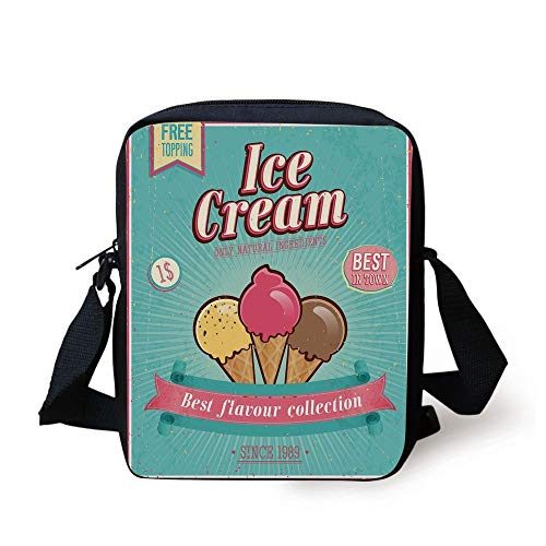 Ice Cream Decor,Best Flavor Collection Quote with Free Topping Kids Design Decorative,Seafoam Pink Light Yellow Print Kids Crossbody Messenger Bag Purse -