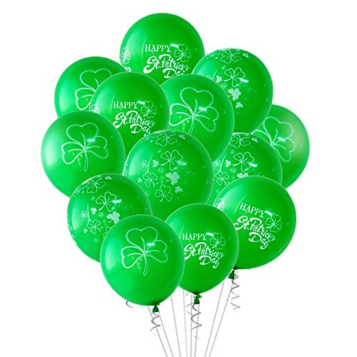 Bouncevi Ballon, 15 Stück Latex irischen St. Patrick's Day Shamrock Dekoration Irish Holiday Theme Party Dekorationen (Irish Party Spiele)