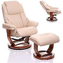 Sillón The Emperor - silla giratoria reclinable de cuero y reposapiés a juego en color crema