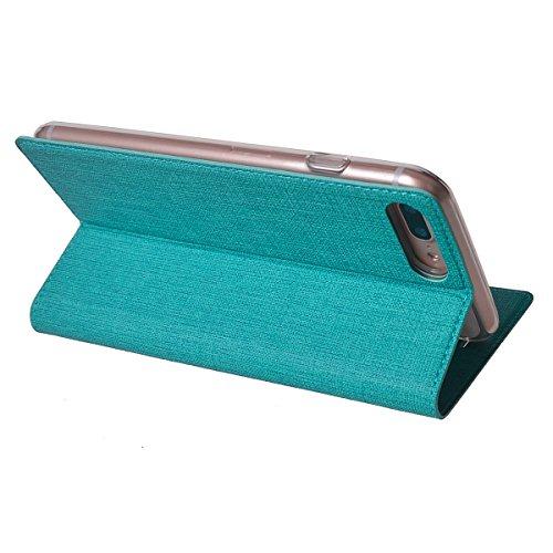 MEIRISHUN Apple iPhone 7 Plus Case,Portafoglio PU Pelle Magnetico Stand Morbido Silicone Flip Bumper Protettivo Gomma Shell Borsa Custodie con Slot per Apple iPhone 7 Plus - Oro Blu