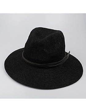 LVLIDAN Sombrero para el sol del verano Lady Anti-sol Gran cara ancha playa sombrero de paja negro