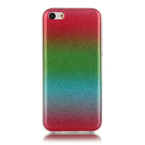 Cover iPhone 5C, Custodia iPhone 5C, ikasus® Colore gradiente Cristallo di lusso di Bling di scintillio lucido diamante scintilla iPhone 5C Case Custodia Cover Lucido scintillio caso di Bling diamante Rosso Verde Blu