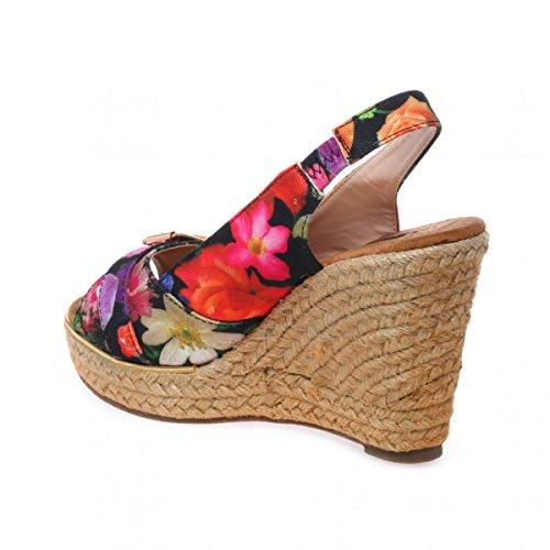 La Modeuse Sandales en Tissu Floral Noir