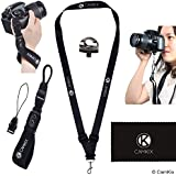 Wrist Strap And Lanyard For DSLR And Compact Cameras - Extra Strong And Durable - Comfortable Neoprene Bracelet - Adjustable Fit - Quick Release Clip - Tripod Screw, Tether And Cleaning Cloth Incuded
