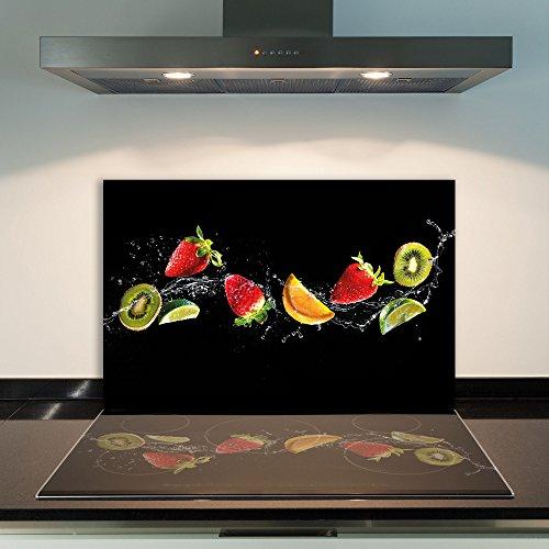 DAMU | Ceranfeldabdeckung 1 Teilig 80x52 cm Herdabdeckplatten aus Glas Obst Schwarz Elektroherd Induktion Herdschutz Spritzschutz Glasplatte Schneidebrett