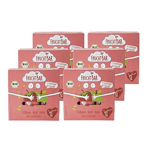 FruchtBar Bio-Frucht-& Getreide-Riegel Erdbeere, Apfel, Hafer, 6x(6x23g)