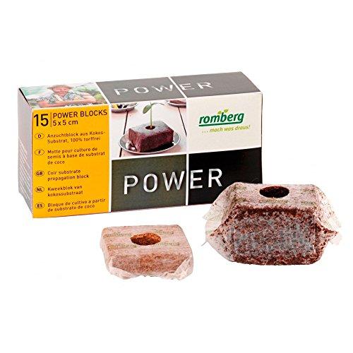 Blocs déshydratés de fibre de coco pressée Romberg PowerBlocks - 5x5cm (15x)