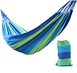 Yeme 2 Person Portable Outdoor 450lb Camping Garden Travel Canvas Hammock (Blue)