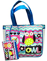 Shopaholic 2pc Set Shoulder Shopping Bag & Pouch For Kids/teenagers-Owl