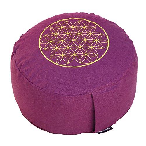 """Meditationskissen RONDO BASIC mit Stick """"Blume des Lebens"""", Dinkel-Füllung, Bezug aus 100% Baumwolle, aubergine"""