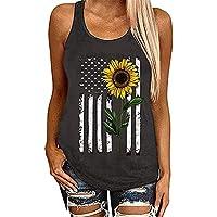 JIER Liquidación Camiseta de Tirantes de EE. UU. para Mujer Camiseta de Tirantes Racerback con Bandera Americana para Mujer Camisa sin Mangas patriótica del 4 de Julio