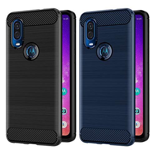 VGUARD [2 Stücke] Hülle für Motorola Moto One Vision, Carbon Faser Case Tasche Schutzhülle mit Stoßdämpfung Soft Flex TPU Silikon Handyhülle für Motorola Moto One Vision - (Schwarz+Blau)