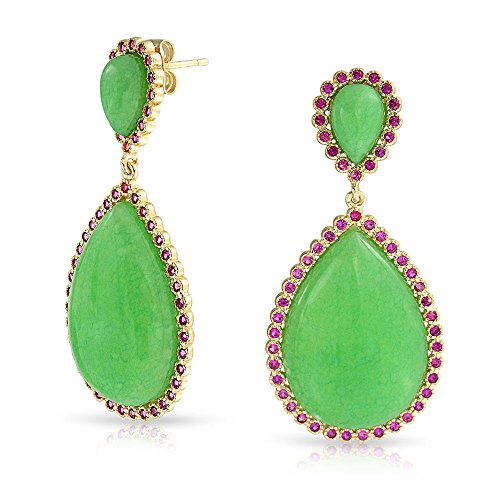 Bling Jewelry Argento 925 quarzo colorato di verde CZ Lacrima Orecchini placcati (Quarzo Verde)