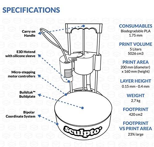 Sculpto+ 3D Drucker, komplett montiert mit Wi-Fi, iOS und Android Konnektivität - Lautlos - Plug&Play Drucker, großen Bauvolumen - 5