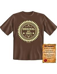 Witzige Geburtstag Sprüche Fun Tshirt! Original seit 1963! - T-Shirt in Braun mit Gratis Urkunde!