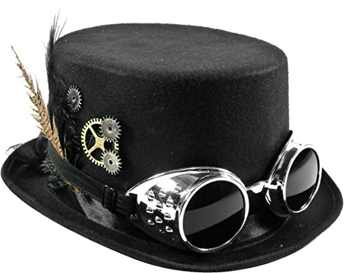 (Steampunk Hut Zylinder Schwarz mit Brille, Federn, Zahnrädern)