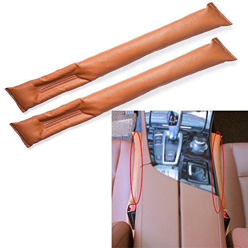 2 Stück Riemen (2 Stück Auto Seat Gap Filler, Universal Auto Seat Gap Filler Pad Soft Padding Spacer PU Leder (braun))