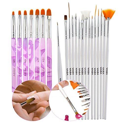 Kit Accessoires Nail Art Manucure Professionel Qualité Premium - Stripers, Liners, Dotters et Pinceaux Acrylique par VAGA®