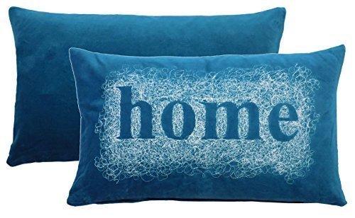 2x bestickt Spirale Home Blaugrün Weiß Samt Boudoir Kissenbezug 28x 48cm