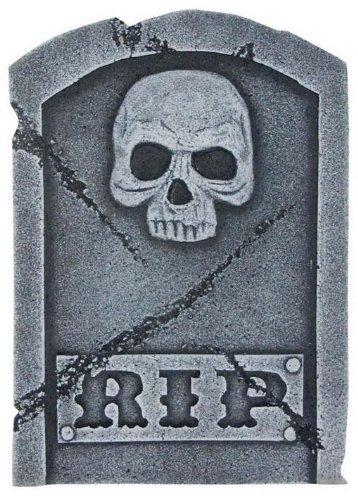 Grabstein Rip & Skull 40 cm (Friedhof Halloween Ideen)