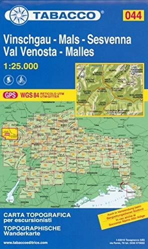 Vinschgau, Sesvenna: Wanderkarte Tabacco 044. 1:25000 (Cartes Topograh)