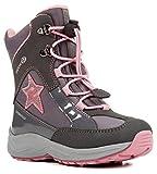 Geox J848BB Alaska WPF Mädchen Winterstiefel, Schnellverschluss, Wasserdicht, Warmfutter, Atmungsaktiv, Wechselfußbett Grau (DK Grey/Pink), EU 34