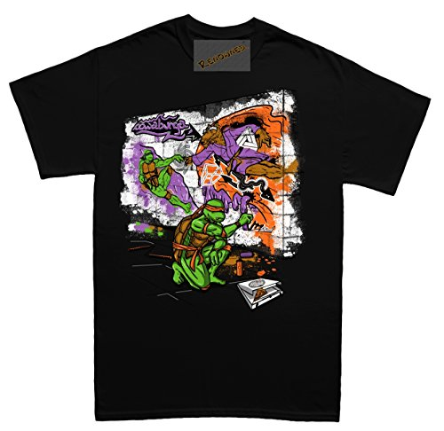 Renowned Cool 3D Artwork Graffiti Sketch Herren T Shirt Schwarz