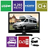 HKC 16M4 16 inch ( 39.6 cm) LED TV (Triple Tuner, DVB-T2/S2/T/S/C, CI+, H.265/HEVC. 230V/12V, 12Volt Vehicle charger/cable included) Black, Energy Class A+