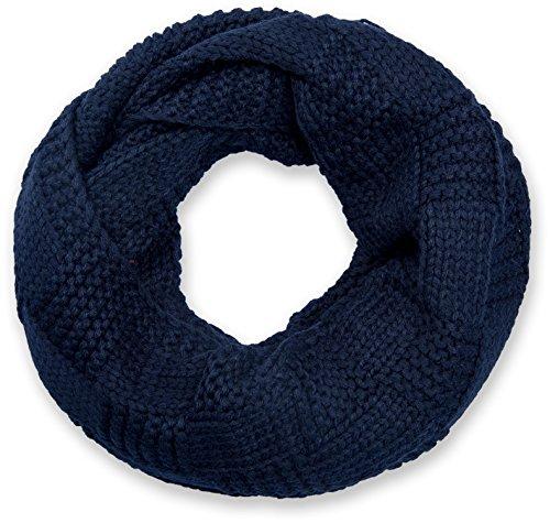 Stylebreaker sciarpa scaldacollo in maglia con motivo brevettato, sciarpa ad anello in maglia fine a tinta unita, sciarpa invernalein maglia, unisex 01018152, colore:blu notte/blu scuro